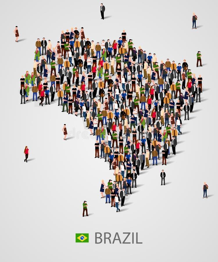 Grande grupo de pessoas no formulário do mapa de Brasil Fundo para a apresentação ilustração stock