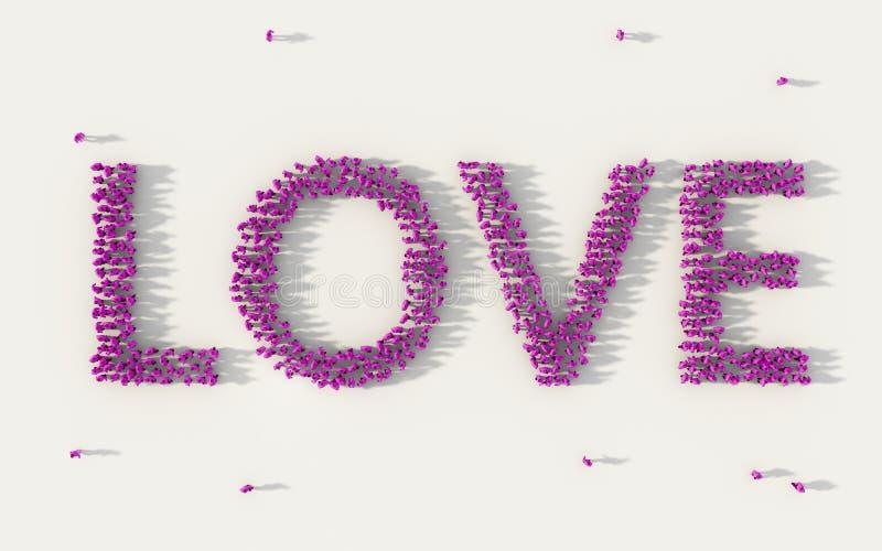 Grande grupo de pessoas que forma o amor que rotula o texto no conceito social dos meios e da comunidade no fundo branco sinal 3d ilustração do vetor