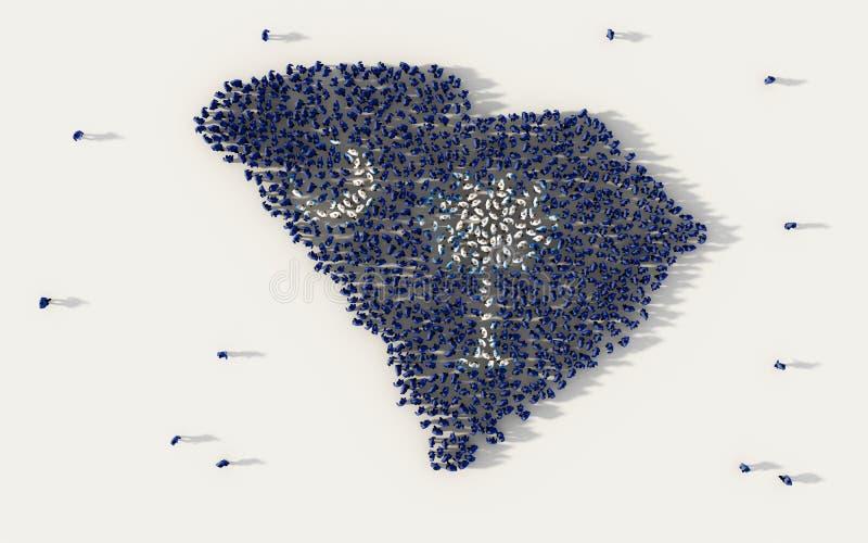 Grande grupo de pessoas que forma o mapa no Estados Unidos da América, EUA da bandeira de South Carolina, no conceito social dos  ilustração royalty free