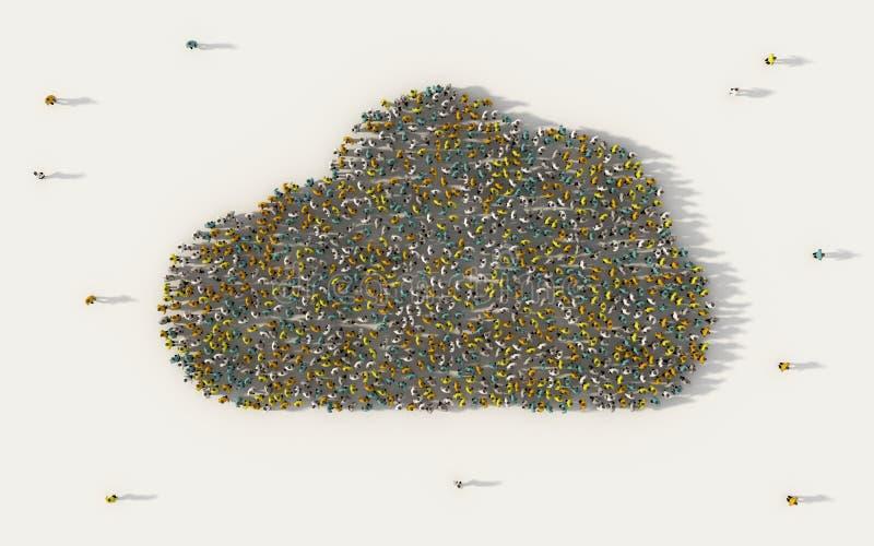 Grande grupo de pessoas que forma o símbolo da nuvem no conceito social dos meios e da comunidade no fundo branco sinal 3d da mul ilustração do vetor
