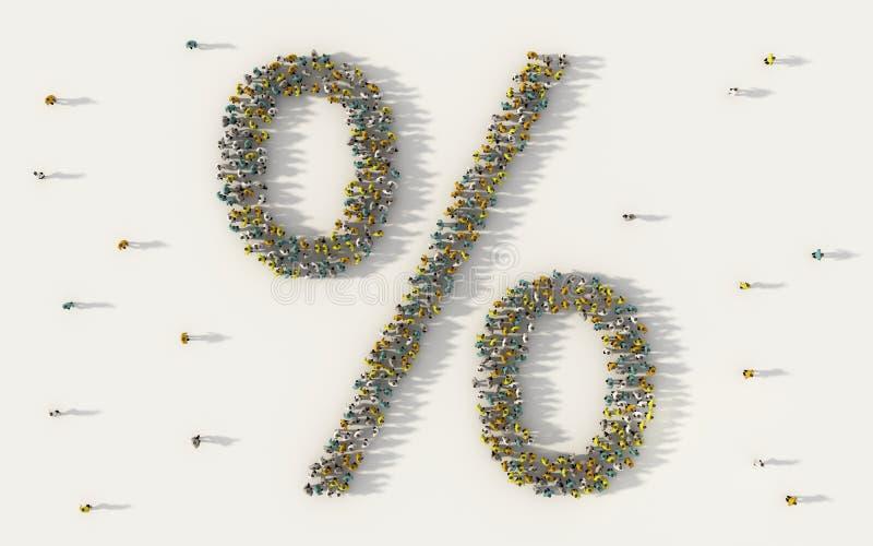 Grande grupo de pessoas que forma o sinal de por cento no conceito social dos meios e da comunidade no fundo branco símbolo 3d da ilustração stock