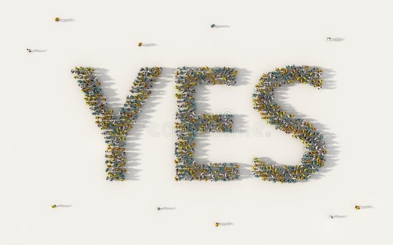 Grande grupo de pessoas que forma sim a rotulação do texto no conceito social dos meios e da comunidade no fundo branco sinal 3d  ilustração stock