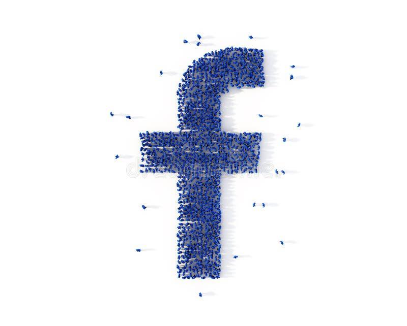 Grande grupo de pessoas que forma um ícone da letra F Media sociais ilustração royalty free