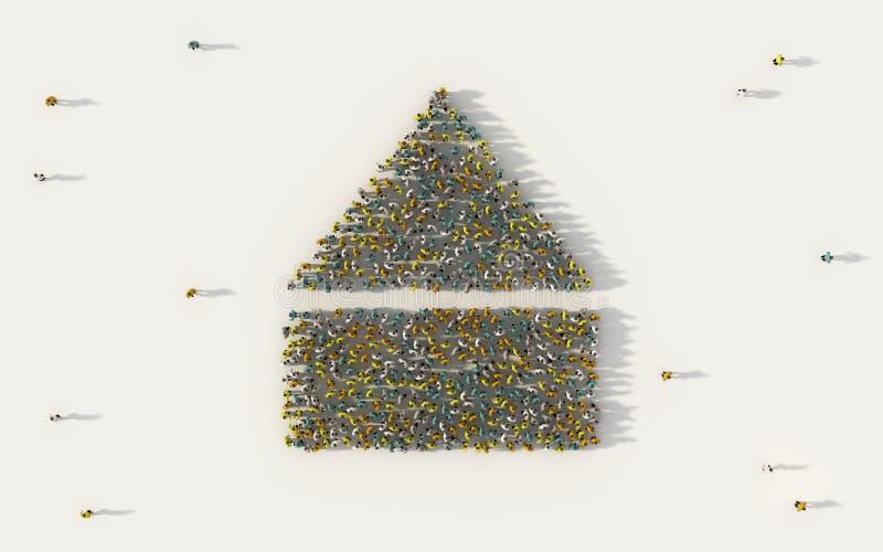 Grande grupo de pessoas que forma um ícone do correio no conceito social dos meios e da comunidade no fundo branco sinal 3d da il ilustração royalty free