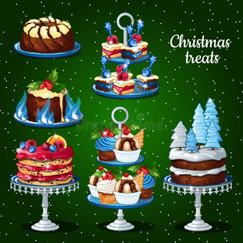 Grande grupo de sobremesas para os feriados do Natal ilustração royalty free