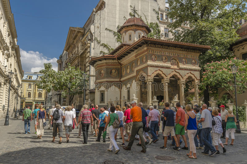 Grande grupo de turistas foto de stock