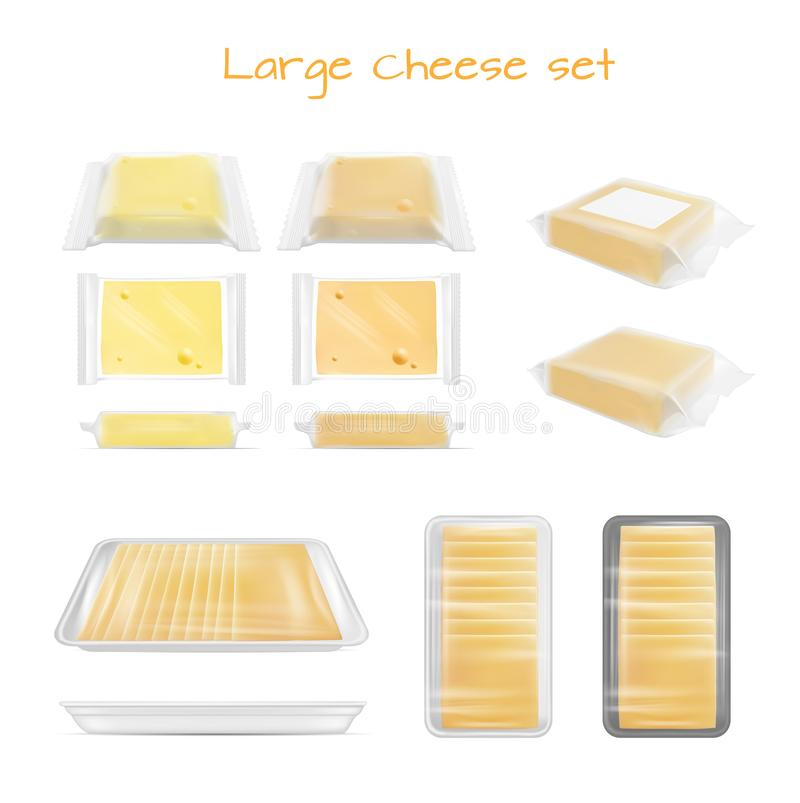 Grande grupo do queijo Empacotamento transparente ilustração stock