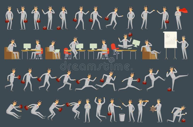 Grande grupo do vetor de poses, de gestos e de ações do caráter do homem de negócios Posição profissional do trabalhador de escri ilustração royalty free