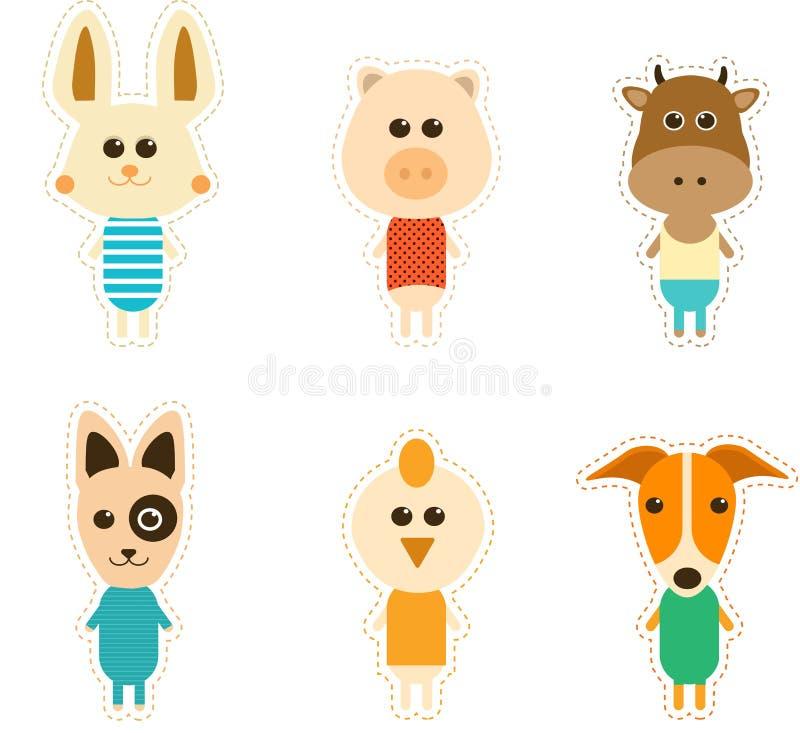 Grande grupo projetado de animais bonitos ilustração stock