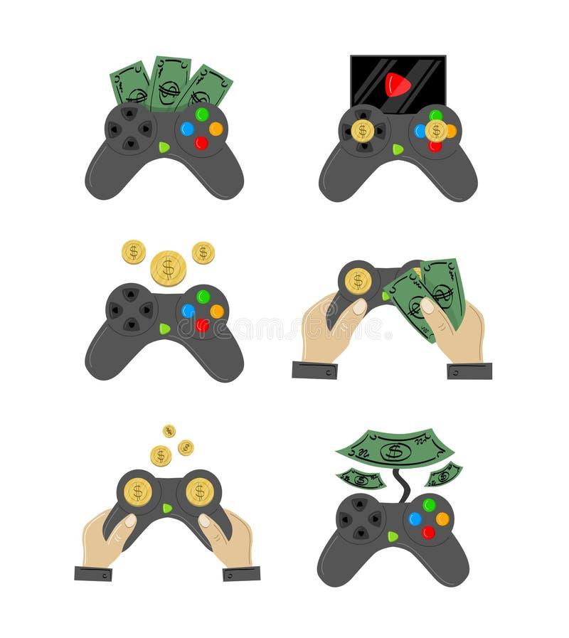 Grande grupo projetado de gamepads ilustração stock