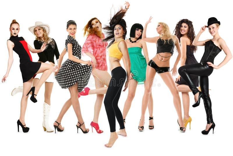 Ragazze di dancing felici fotografie stock libere da diritti