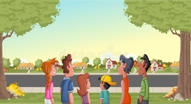 Grande gruppo di persone che esaminano la vicinanza del sobborgo Paesaggio verde del parco con erba, gli alberi e le case illustrazione vettoriale