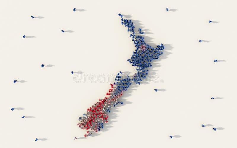 Grande gruppo di persone che formano la mappa e la bandiera nazionale della Nuova Zelanda in media e nel concetto sociali della c illustrazione vettoriale