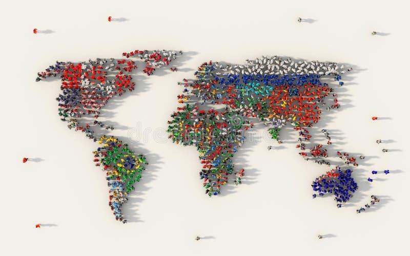 Grande gruppo di persone che formano un simbolo della bandiera della mappa di mondo, tutte le bandiere di paesi in media sociali  royalty illustrazione gratis