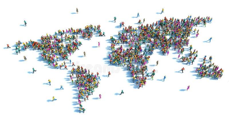 Grande gruppo di persone che stanno sotto forma di mappa di mondo illustrazione di stock