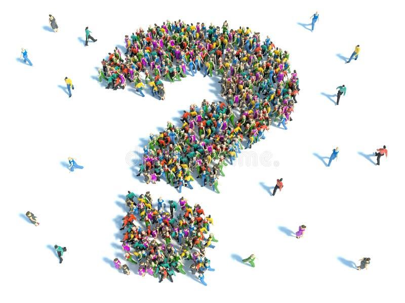 Grande gruppo di persone con le domande, concetto di pensiero illustrazione vettoriale
