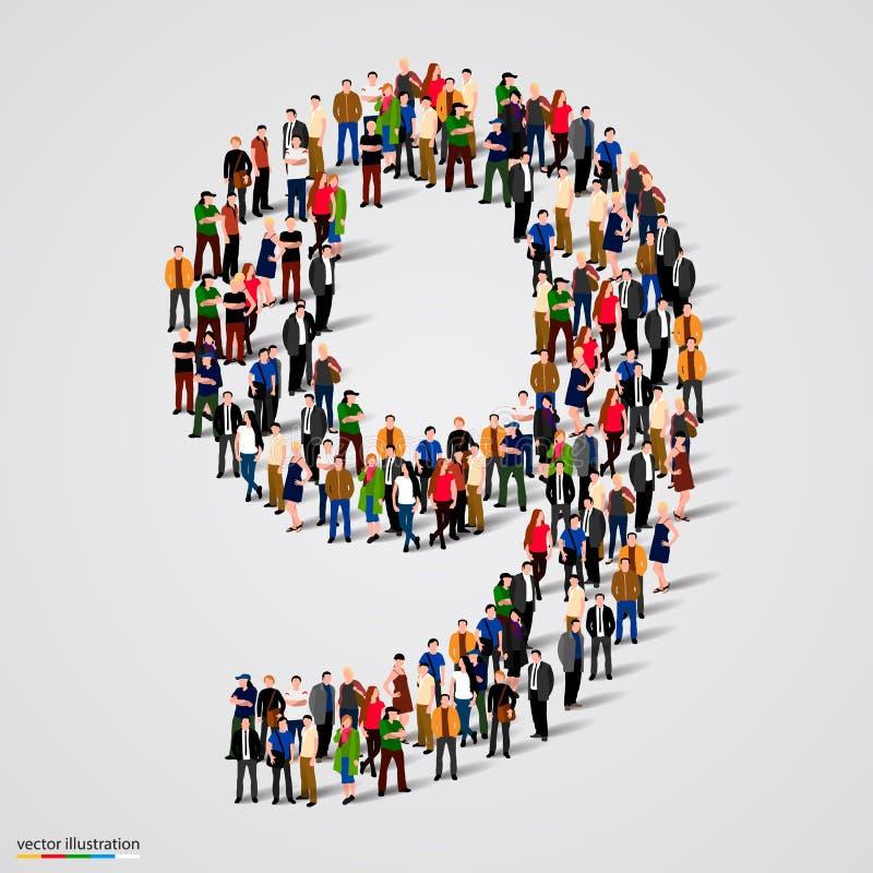 Grande gruppo di persone di numero forma 9 nove illustrazione vettoriale