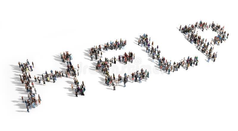 Grande gruppo di persone esigenza di aiuto illustrazione di stock