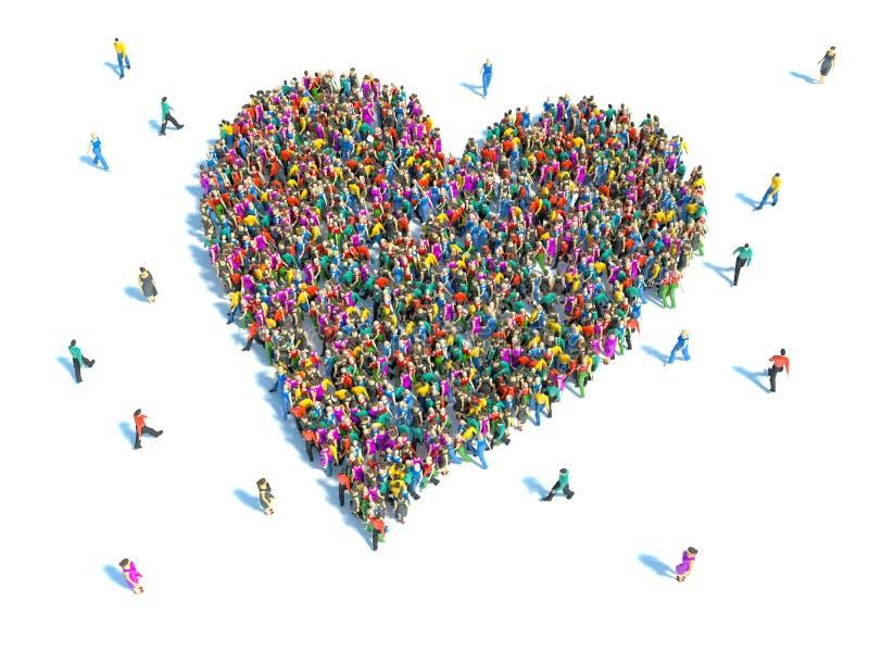 Grande gruppo di persone sotto forma di un cuore illustrazione di stock