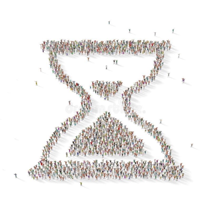 Grande gruppo di persone sotto forma di un orologio della sabbia illustrazione di stock