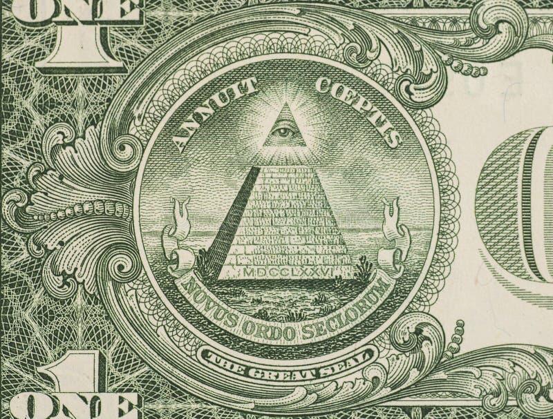 Grande guarnizione - macro del primo piano della banconota in dollari degli Stati Uniti uno fotografie stock libere da diritti