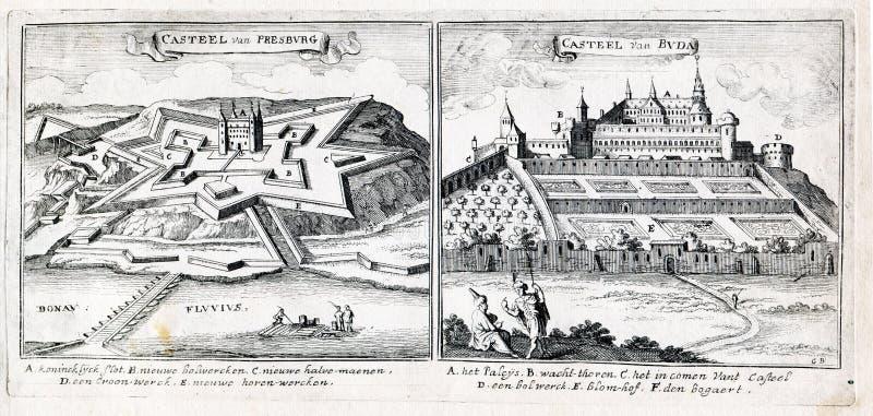 Grande guerre turque - château de Presburg et château de Buda photos stock