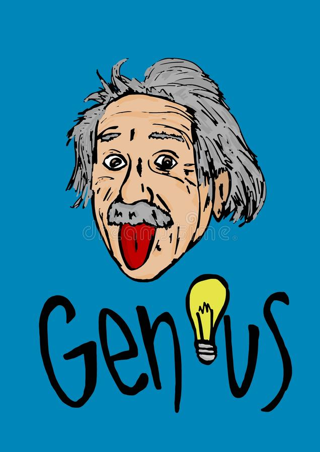 Grande gueule d'Albert Einstein illustration libre de droits