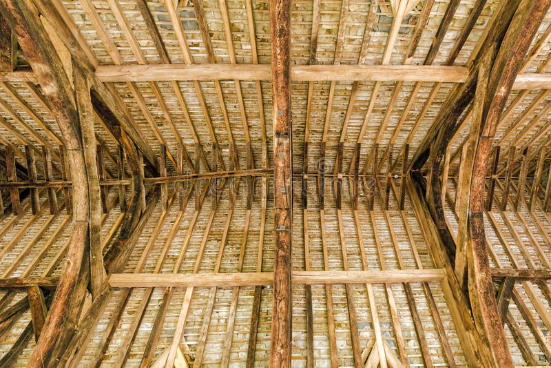 Grande Hall Roof Timbers, castelo de Stokesay, Shropshire, Inglaterra fotografia de stock
