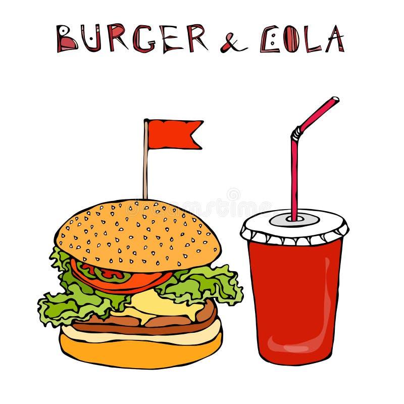 Grande hamburger, hamburger o cheeseburger e soda o cola della bibita Icona da portar via degli alimenti a rapida preparazione Se royalty illustrazione gratis