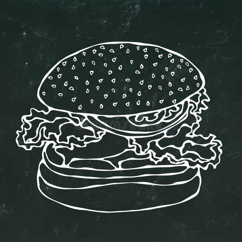 Grande hamburger, hamburger o cheeseburger Isolato su un fondo nero della lavagna Mano realistica di stile del fumetto di scarabo royalty illustrazione gratis