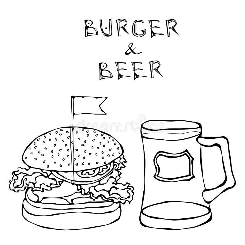 Grande hamburger o cheeseburger e tazza o pinta di birra Iscrizione dell'hamburger Isolato su una priorità bassa bianca Scarabocc illustrazione vettoriale