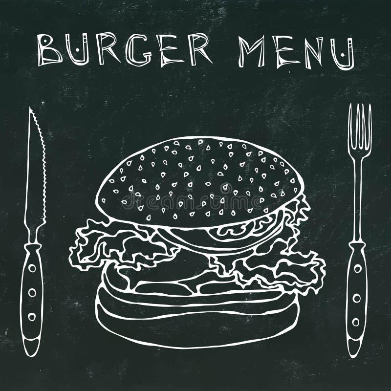 Grande hamburger o cheeseburger Iscrizione, coltello e forcella del menu dell'hamburger Isolato su un fondo nero della lavagna royalty illustrazione gratis