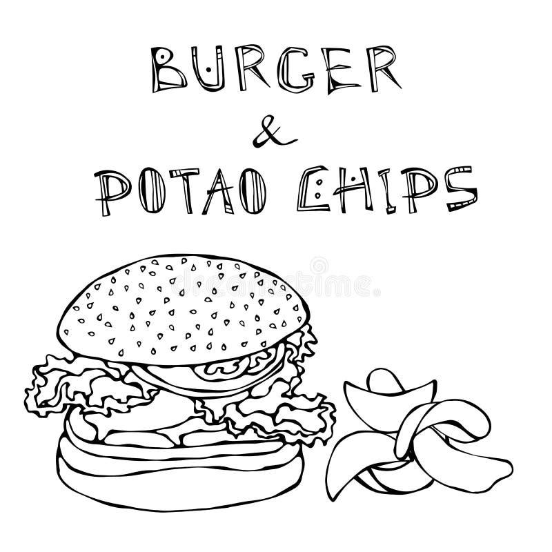 Grande hamburger o cheeseburger, tazza di birra o pinta e patatine fritte Logo dell'hamburger Isolato su una priorità bassa bianc royalty illustrazione gratis