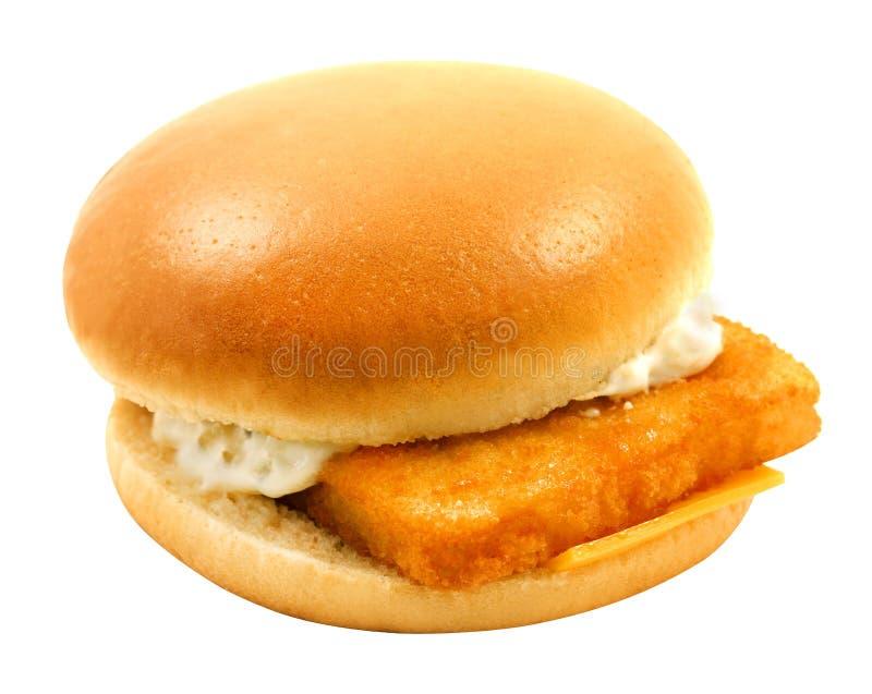 Grande hamburger saporito delle foto con il pesce fotografia stock libera da diritti