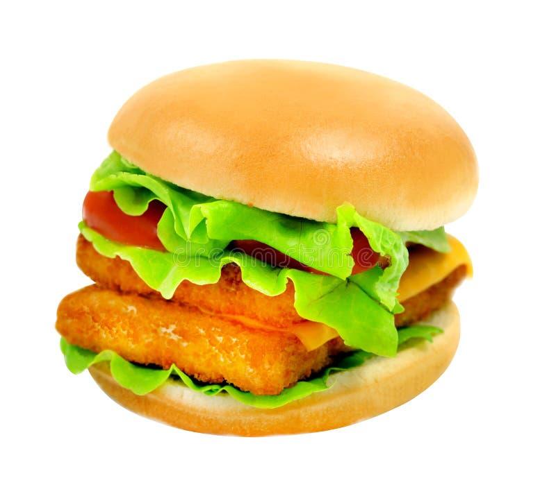 Grande hamburger saporito delle foto con il pesce fotografia stock