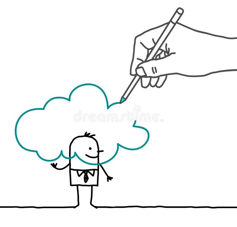 Grande homme d'affaires de dessin de main et de bande dessinée - dans le nuage illustration libre de droits