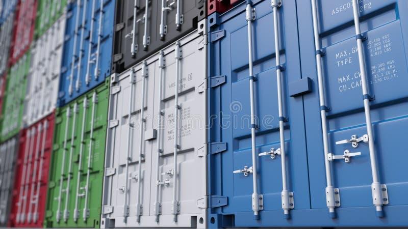 Grande iarda del contenitore di carico, fuoco basso Logistica moderna rappresentazione 3d immagini stock libere da diritti