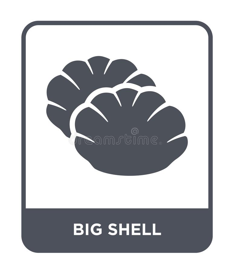 grande icône de coquille dans le style à la mode de conception Grande icône de Shell d'isolement sur le fond blanc appartement si illustration libre de droits