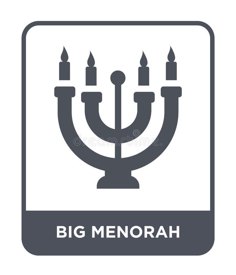 grande icône de menorah dans le style à la mode de conception grande icône de menorah d'isolement sur le fond blanc le grand meno illustration stock
