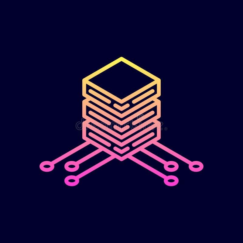 Grande icône de stockage de données Illustration de vecteur dans la ligne style plate illustration de vecteur