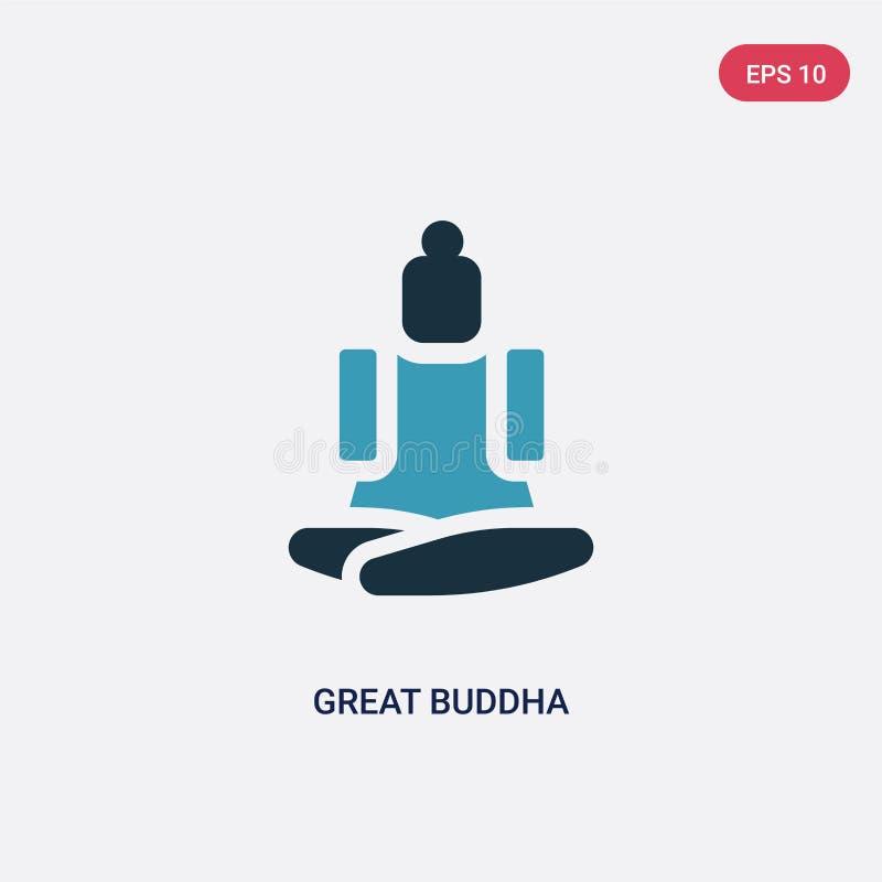 Grande icône de vecteur de Bouddha de deux couleurs de concept de religion le grand symbole bleu d'isolement de signe de vecteur  illustration de vecteur