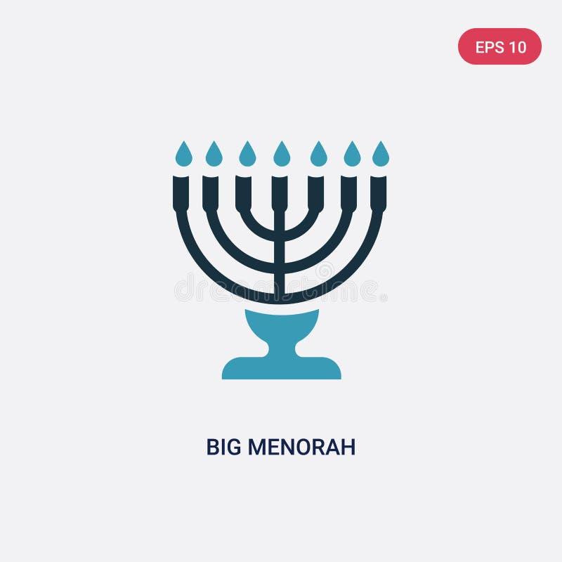 Grande icône de vecteur de menorah de deux couleurs de concept de religion le grand symbole bleu d'isolement de signe de vecteur  illustration de vecteur