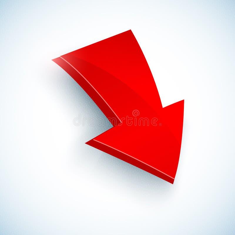 Grande icône rouge de flèche de vecteur illustration stock
