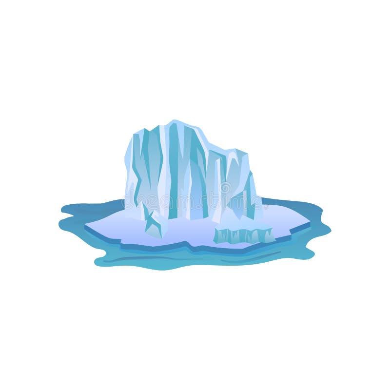 Grande iceberg blu con le luci e le ombre Grande montagna di ghiaccio che galleggia in acqua pura Icona piana di vettore del paes illustrazione di stock