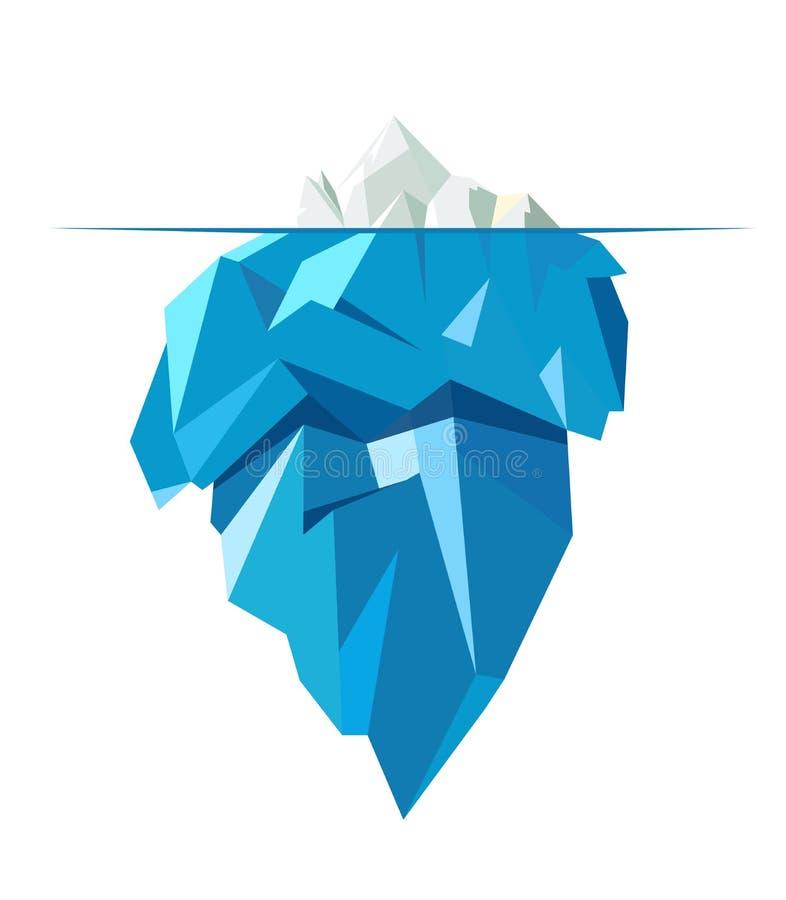 Grande iceberg pieno isolato, illustrazione piana di stile royalty illustrazione gratis