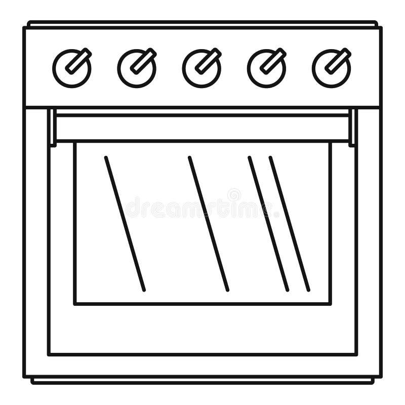 Grande icona del fornello di gas, stile del profilo illustrazione di stock