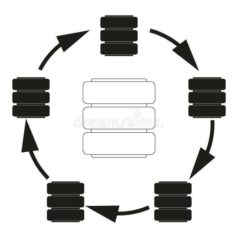 Grande icona del nero di vettore del ciclo della base di dati di dati su fondo bianco royalty illustrazione gratis