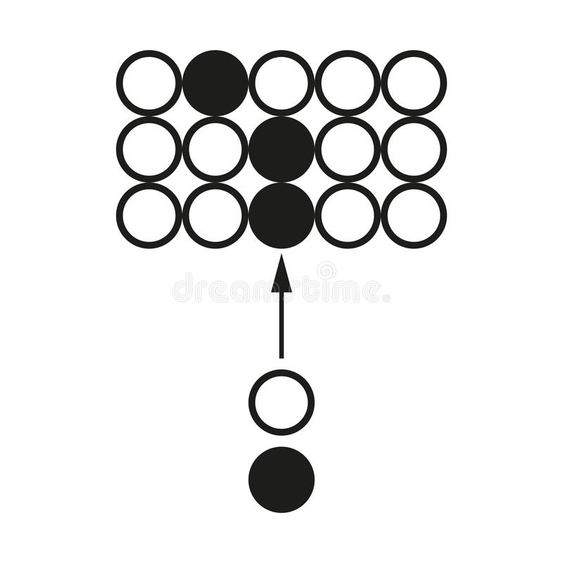 Grande icona del nero di vettore del circuito di reazione a catena di dati su fondo bianco illustrazione vettoriale