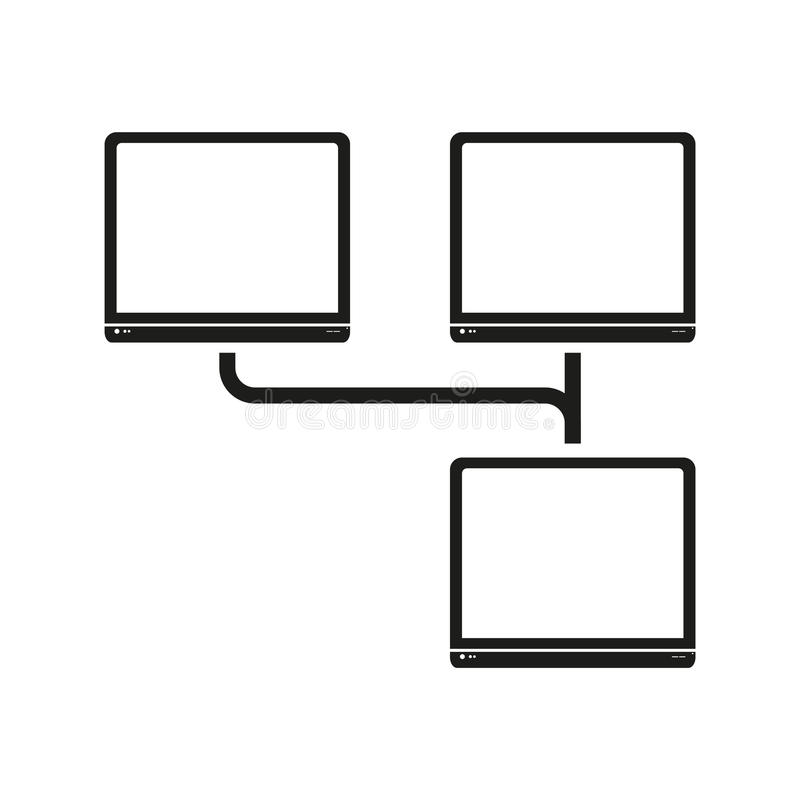 Grande icona del nero di vettore della rete di computer di dati su fondo bianco illustrazione di stock