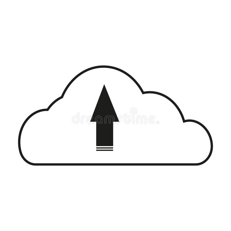Grande icona del nero di vettore di download della nuvola di dati su fondo bianco royalty illustrazione gratis